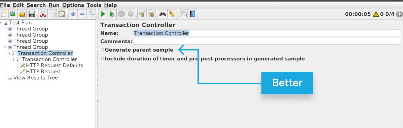 Parameters of the JMeter Logic Controllers