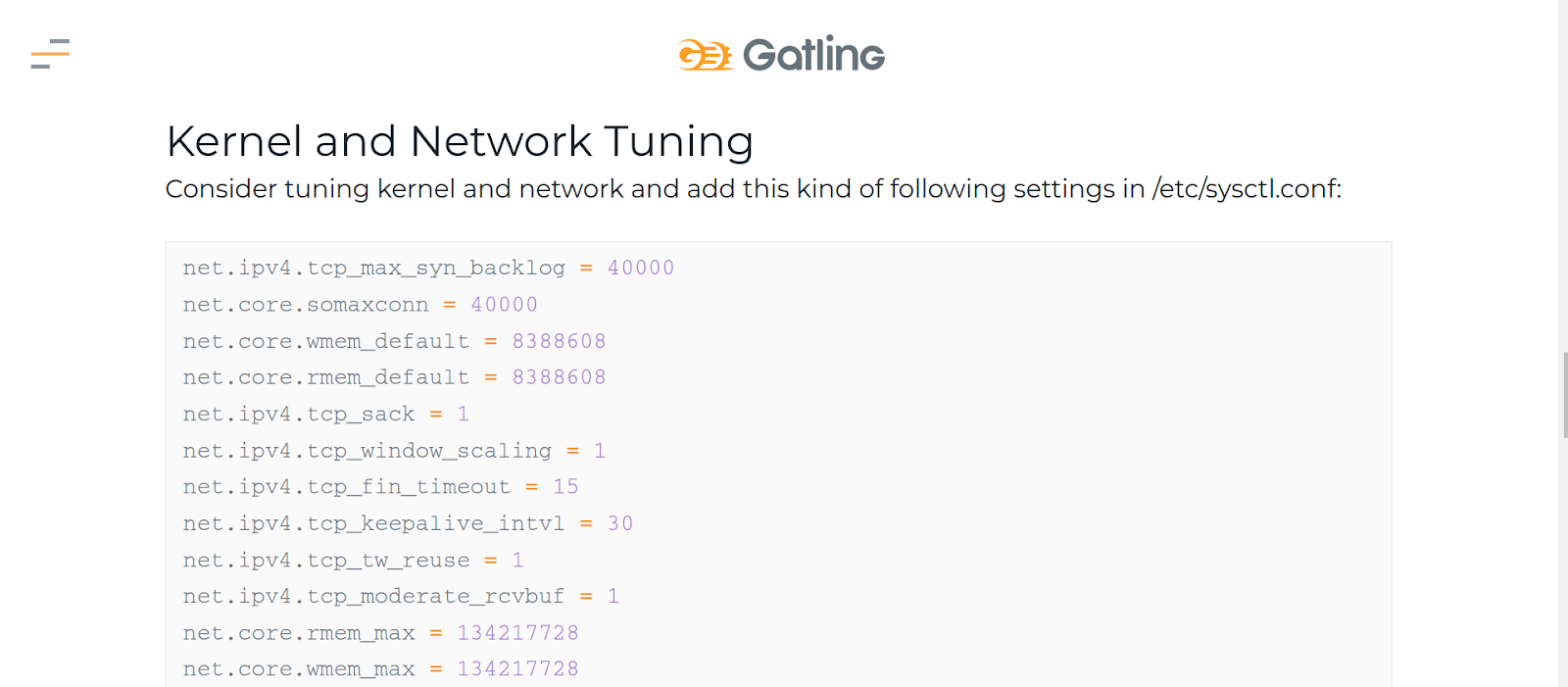 Gatling tutorial for the network in Linux