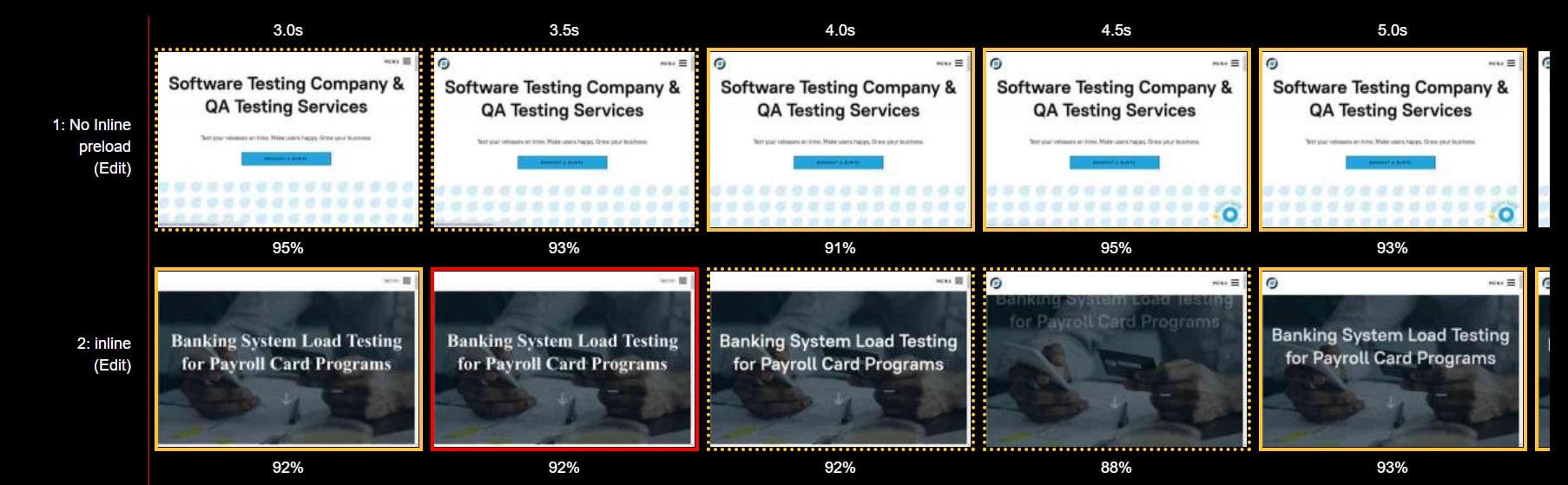 A screenshot of the WebPageTest report