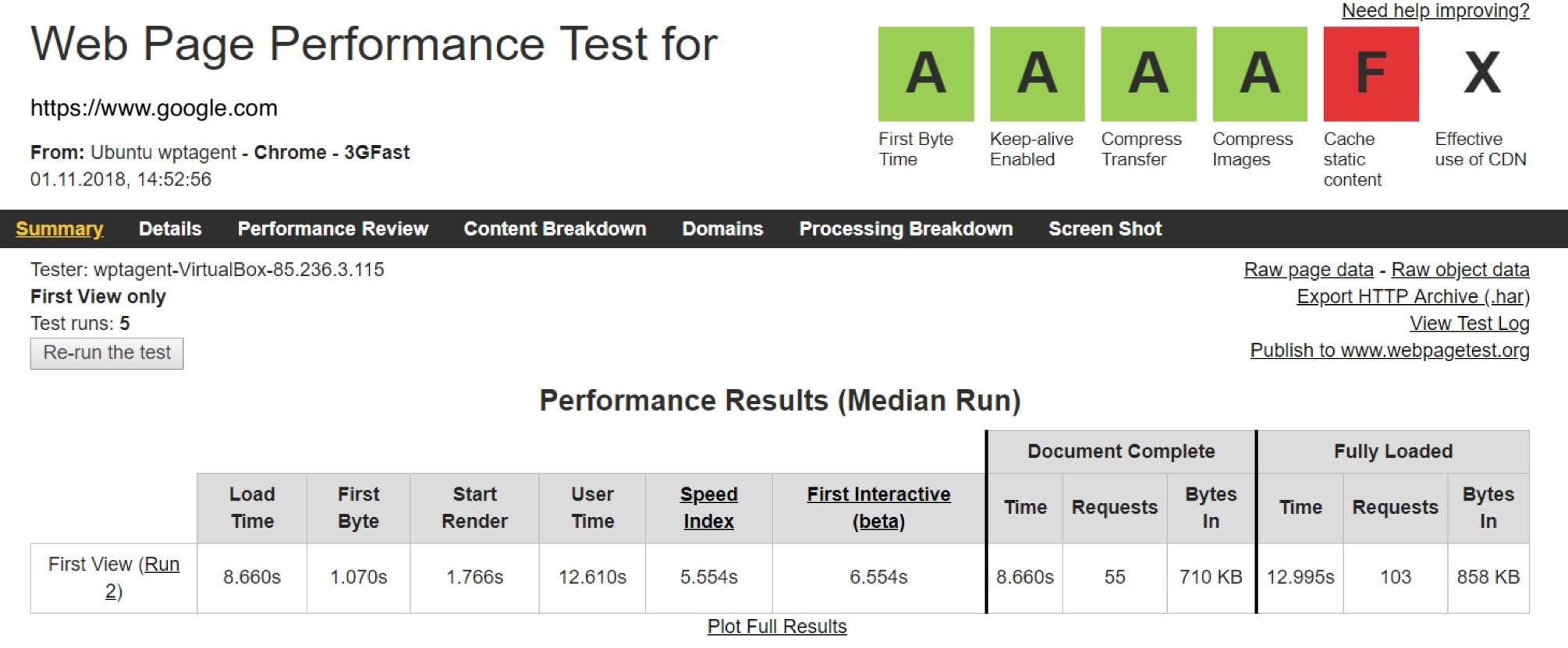 A screenshot of the WebPageTest web interface